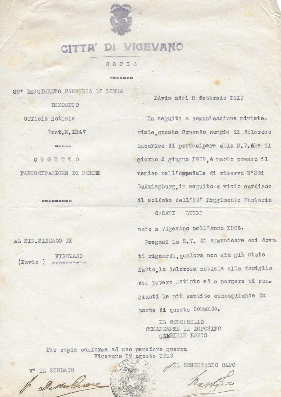 Casati Luigi - partecipazione di morte (Archivio Mutilati e Invalidi di Guerra di Vigevano)