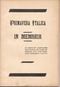 Primavera Italica in memoria del Sottotenente Carlo Dondè