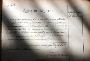 Atto di morte di Rodolfo Masera Ambrogio 8Archivio Diocesano Vigevano)