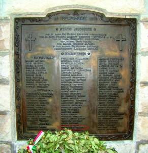 Targa commemorativa caduti R.N. Rossarol