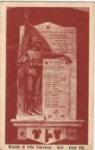 Cartolina commemorativa Monumento ai Caduti Villa Sforzesca