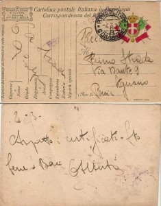Cartolina in Franchigia - famiglia Pietro Strada