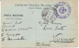 Cartolina postale dalla zona di guerra - 7 giugno 1916