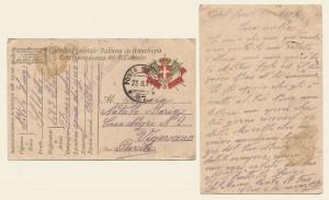 Cartolina postale in franchigia del 20 settembre 1917
