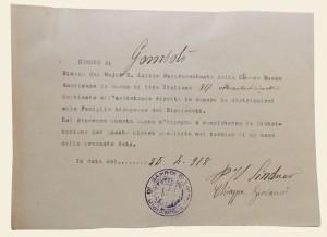 ricevuta a firma del Sindaco Giovanni Chiappa