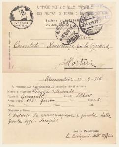 Cartolina Ufficio Notizie di Alessandria - Poggi Secondo