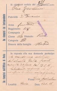 Cartolina Ufficio Notizie di Pavia - Picco Giovanni