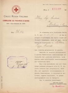 Comunicazione C.R.I. 8 giugno Poggi Secondo non risulta prigioniero