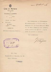 Comunicazione del sindaco al comandante del deposito - Caresana Attilio