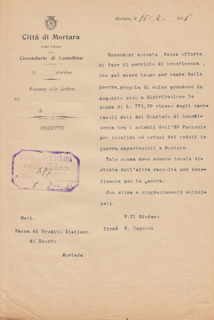 Deposito presso la Banca di Credito Italiano