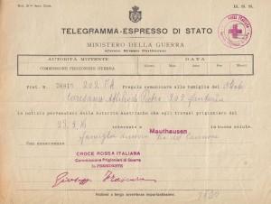 Telegramma internamento di Caresana Attilio a Mauthausen