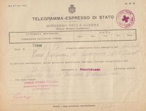 Telegramma internamento di Picco Giovanni a Mauthausen