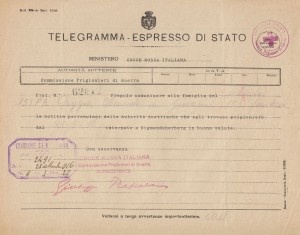 Telegramma internamento di Poggi Secondo a Sigmundsherberg