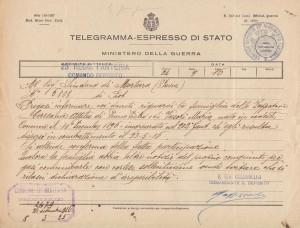 Telegramma partecipazione dispersione - Caresana Attilio