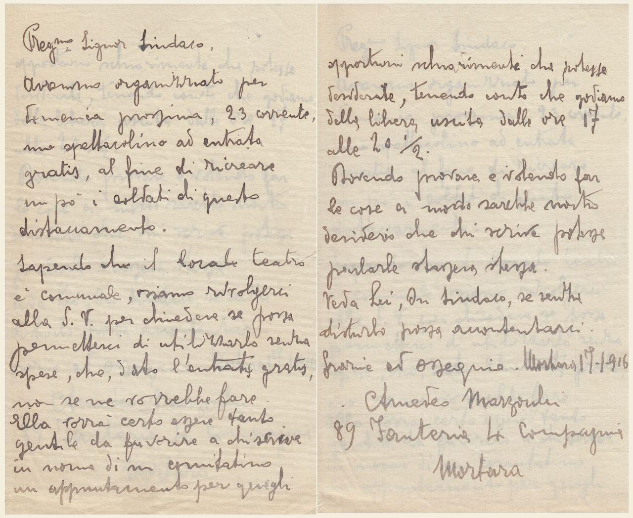 lettera di Amedeo Marzocchi 17 gennaio 1916