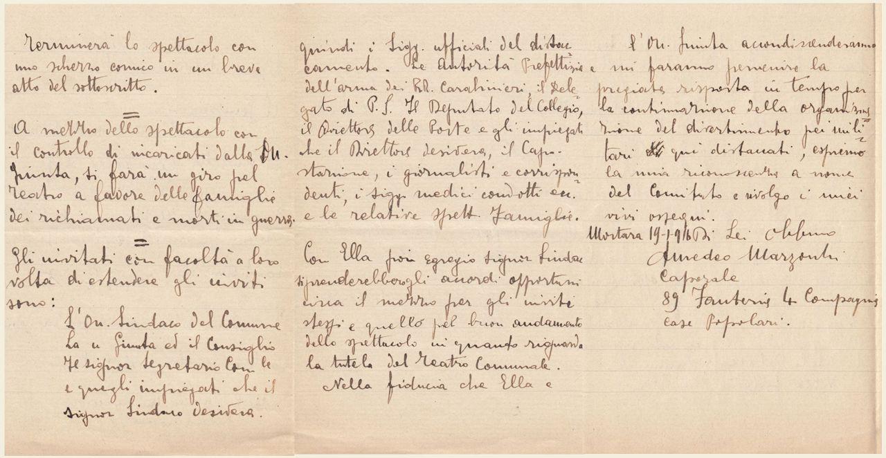 lettera di Amedeo Marzocchi 19 gennaio 1916 - 2