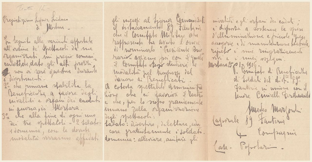 lettera di Amedeo Marzocchi 25 gennaio 1916
