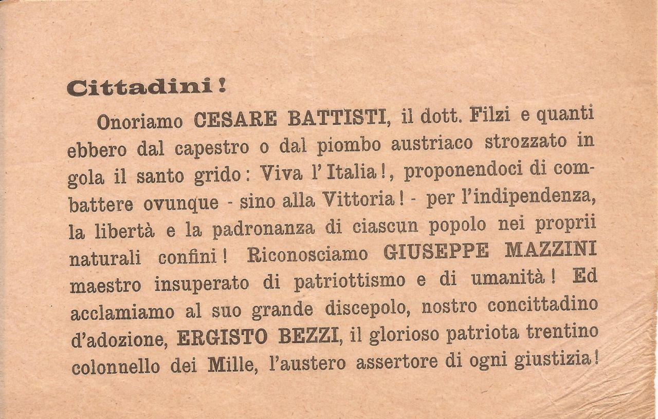Cittadini onoriamo Cesare Battisti