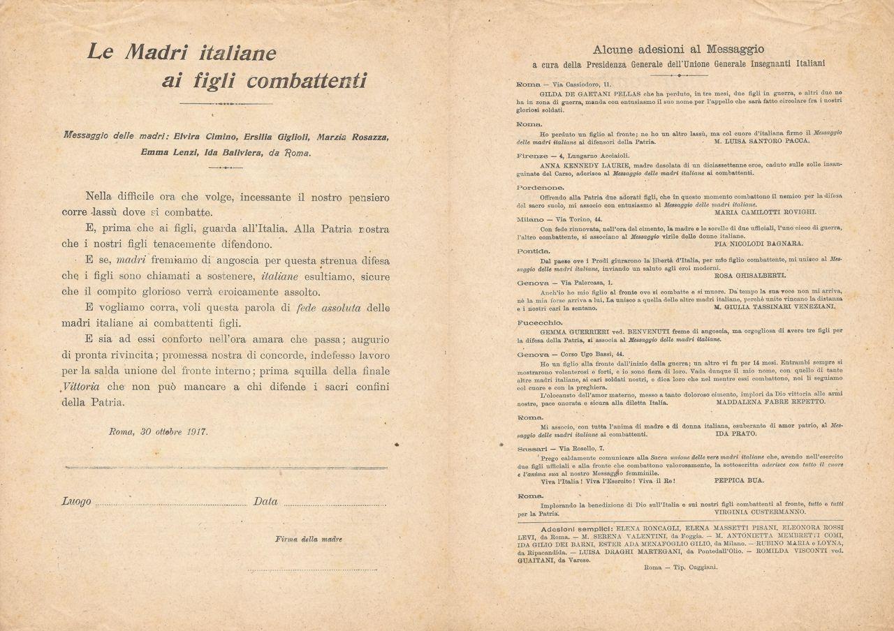 Le madri italiane ai figli combattenti 1917