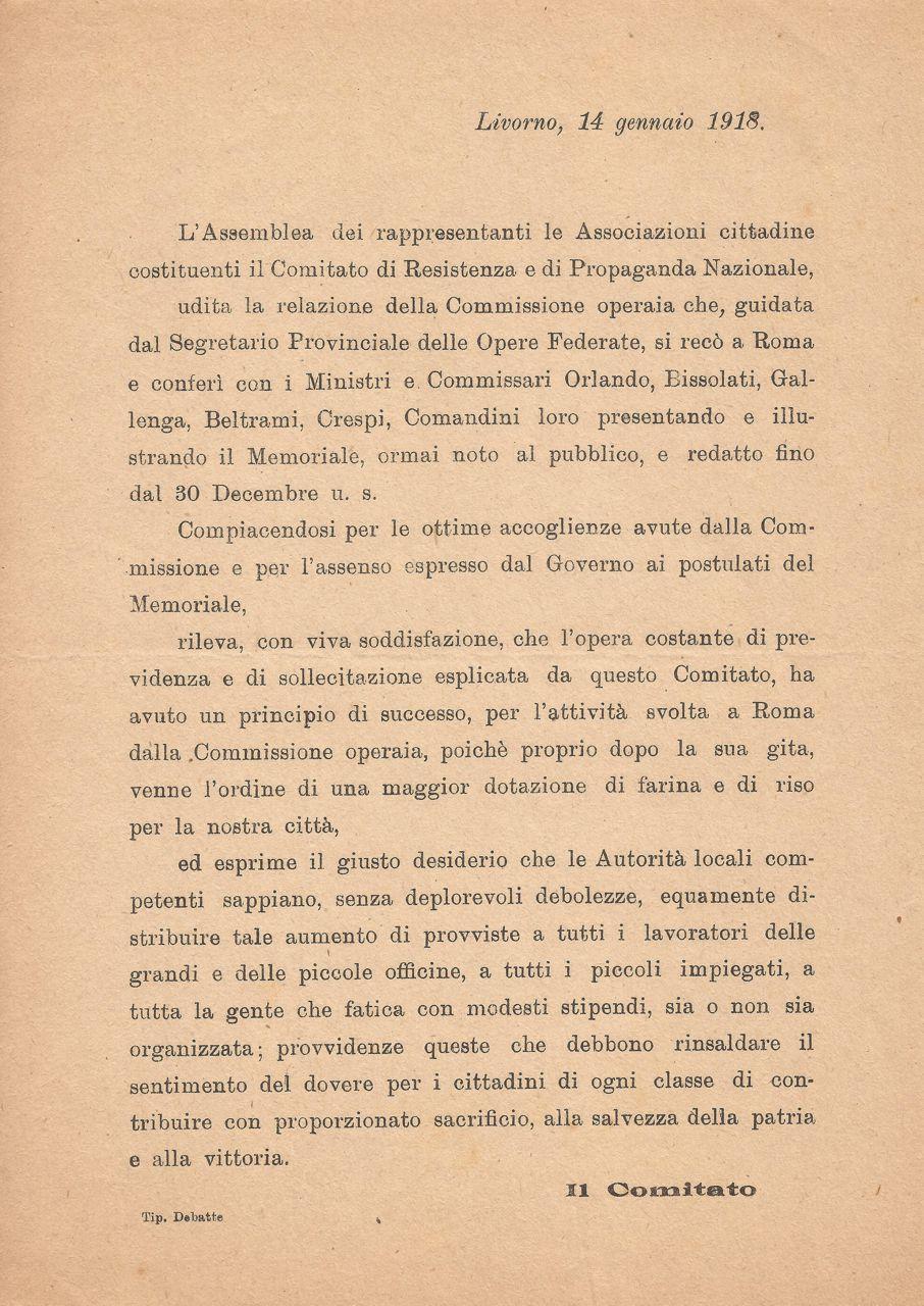 Livorno 14 gennaio 1918