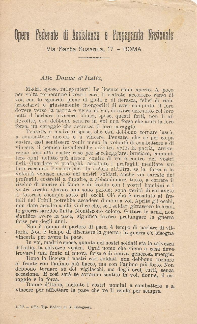 Opera Federale di Assistenza e Propaganda Nazionale 1918