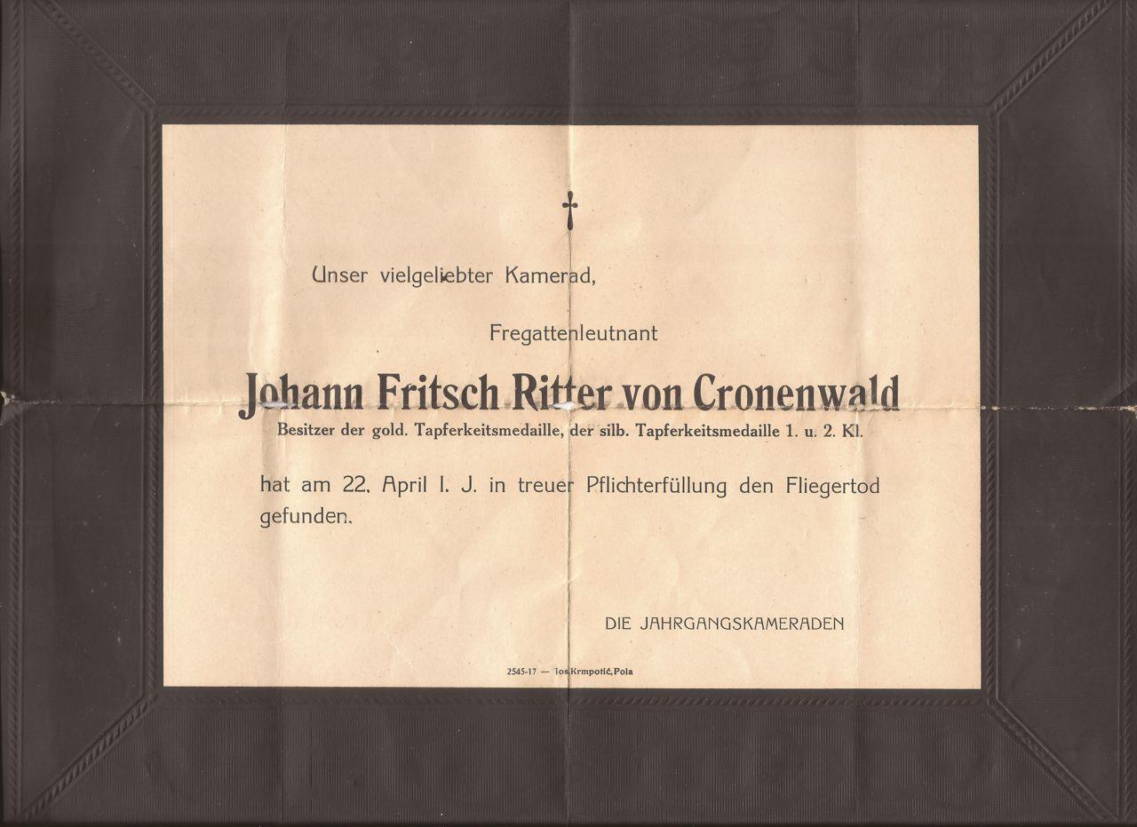 Partecipazione di morte Johan Fritsch Ritter Von Cronenwald