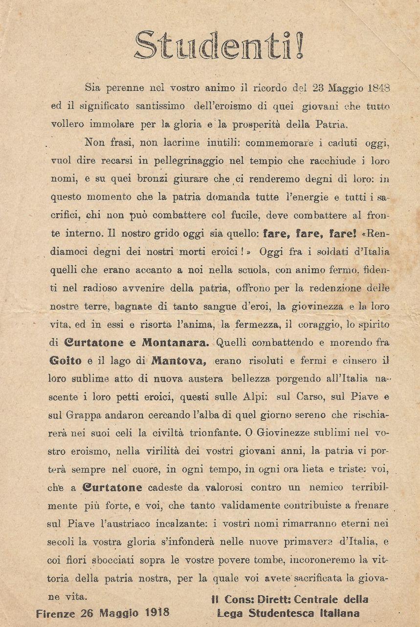Studenti Firenze 1918