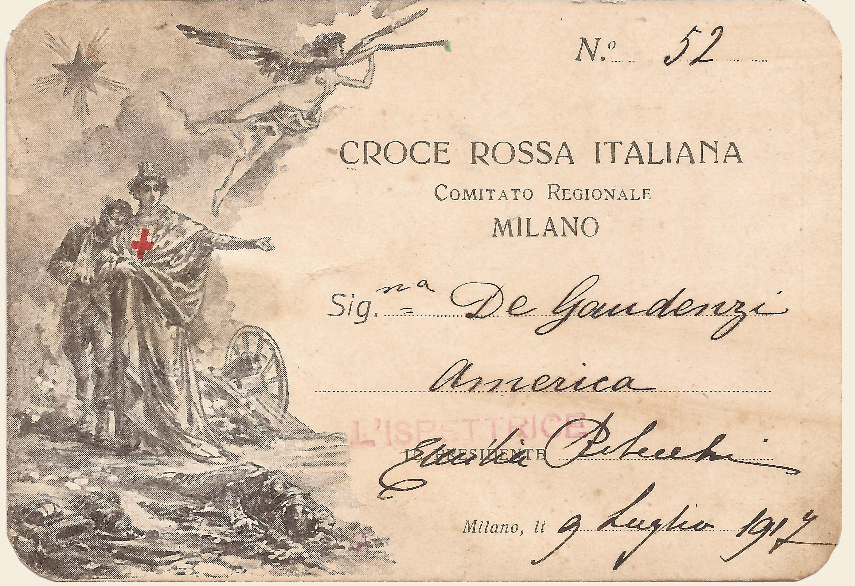 Tessera di riconoscimento infermiera C.R.I. De Gaudenzi America