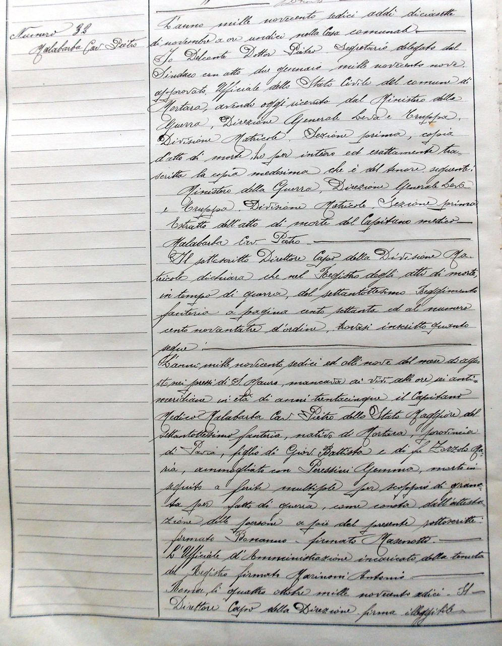 Atto di morte Malabarba Pietro - Archivio Storico Città di Mortara