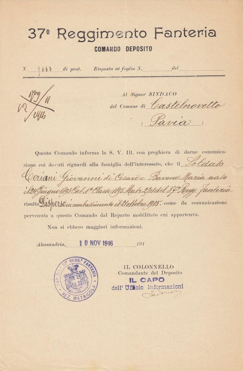 Ceriani Giovanni - Atto dispersione