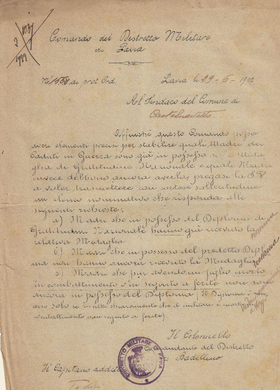 Circolare n. 1568 del 29 giugno 1922 a