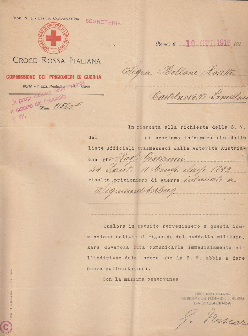 Rossi Giovanni dichiarazione di prigionia